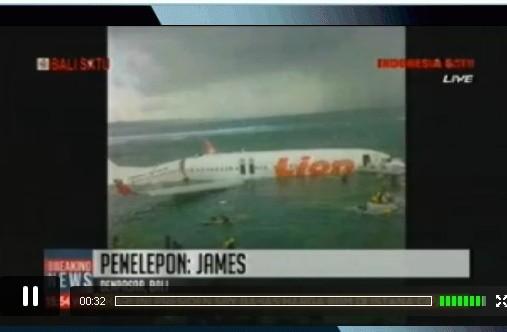 Lion Air Landing di Laut