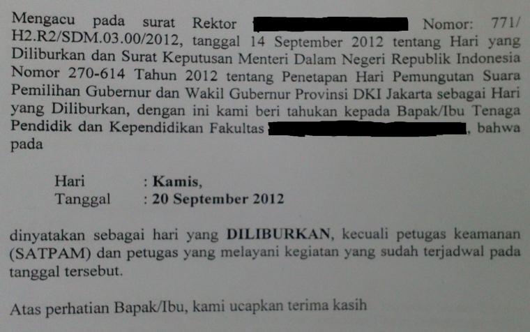 20 Sept'12 = Pilkada DKI = Hari yang Diliburkan (?)