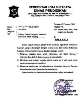 Edaran Dinas Pendidikan Kota Surabaya Melarang Siswa